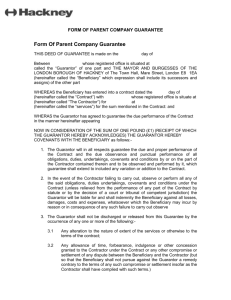 Form of parent company guarantee (Word, 38KB)