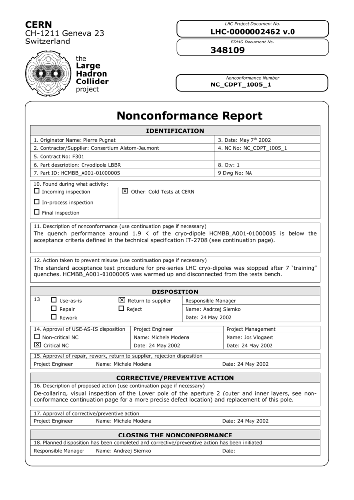 Nonconformance Report template