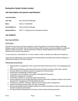 DHU Non Clinical Shift Manager v2 10 12 12