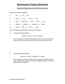 KEY- Solutions for the Stoichiometry Practice Worksheet: