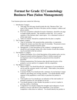Format for Grade 12 Cosmetology Business Plan (Salon Management)