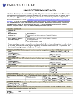 human subjects research application