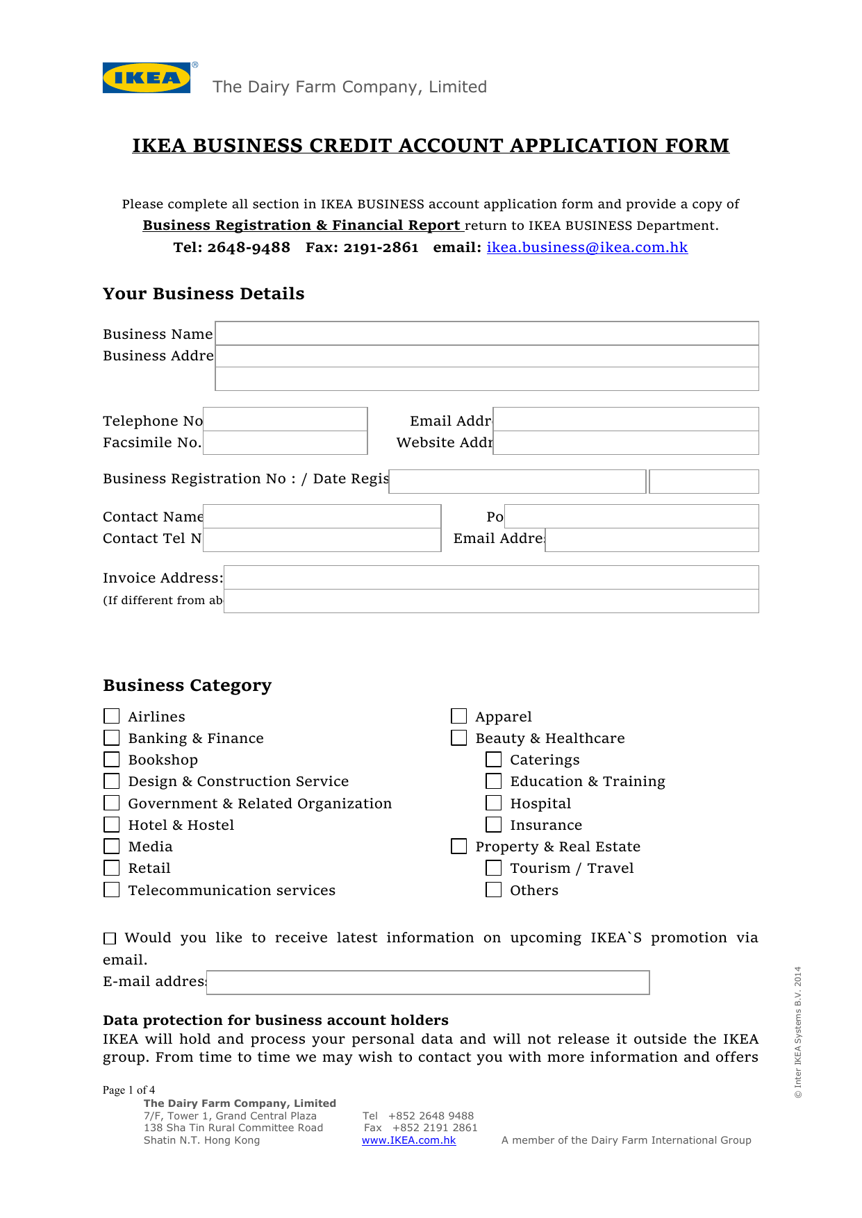 Ikea Business Account Application Form