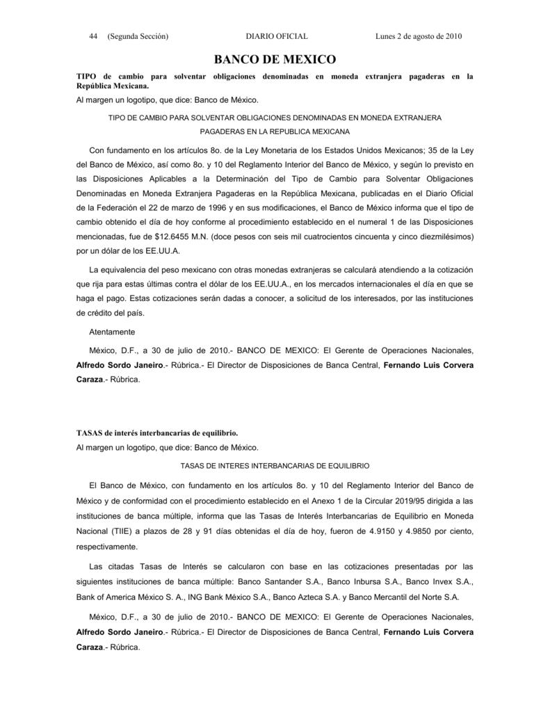 0cd55190b203 44 (Segunda Sección) DIARIO OFICIAL Lunes 2 de agosto de 2010 BANCO DE  MEXICO TIPO de cambio para solventar obligaciones denominadas en moneda  extranjera ...