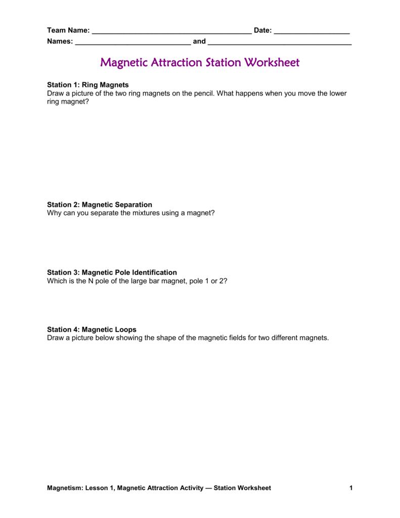 Magnetic Attraction Worksheet – Magnetism Worksheet