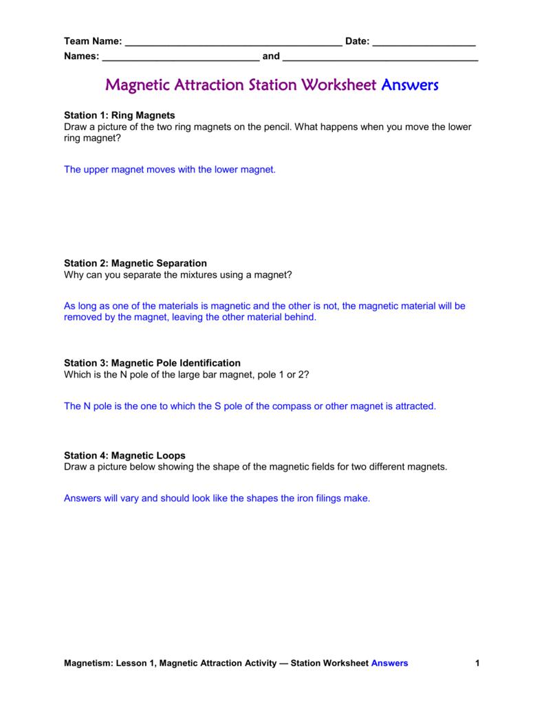 worksheet Magnets Worksheet magnetic attraction worksheet answers