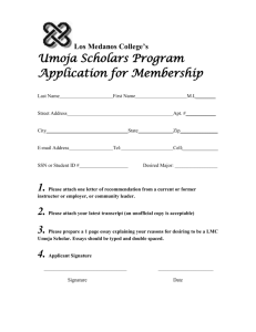 Los Medanos College's Umoja Scholars Program Application for