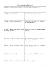 Film review planning sheet