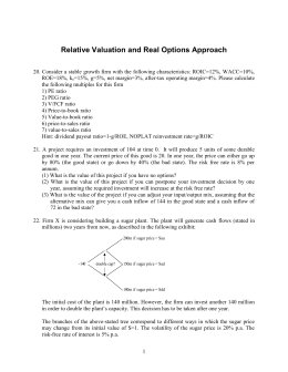 Exercises on Valuation Using Option Pricing Theory