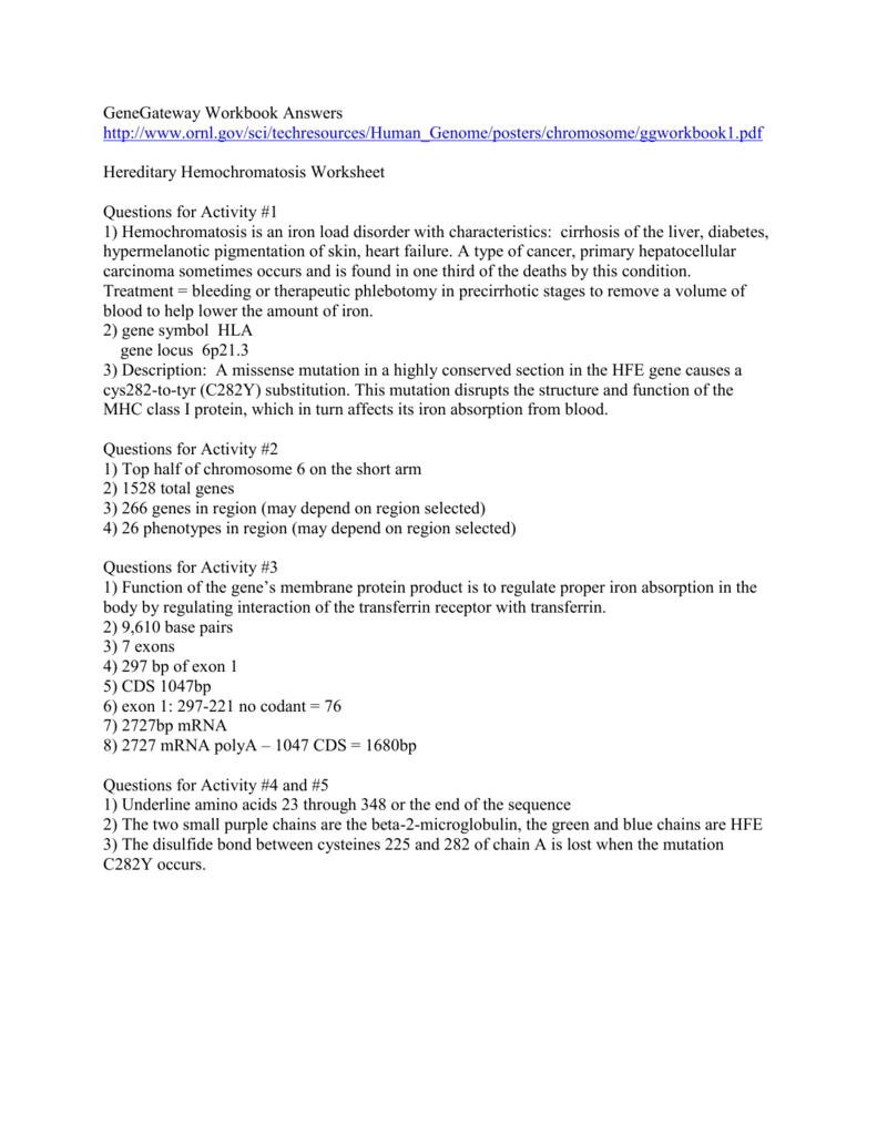 Doe Gene Gateway Workbook Answers
