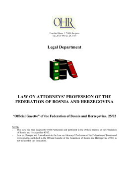 Law on the Attorney's Profession of the Federation of Bosnia and