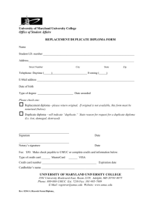 Replacement/Duplicate Diploma form (Word document)