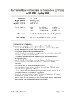Recent Syllabus - Department of Accounting and Information