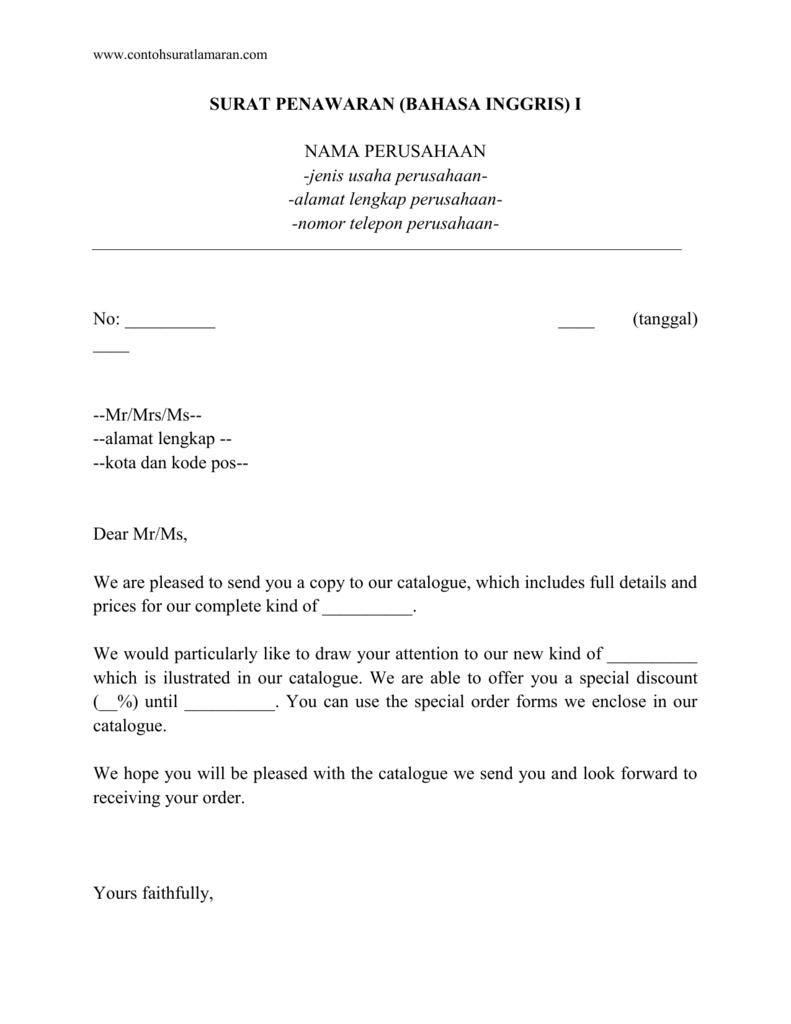 Www Contohsuratlamaran Com Surat Penawaran Bahasa