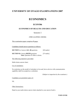 Exam paper in Economics of Health and Education 2007