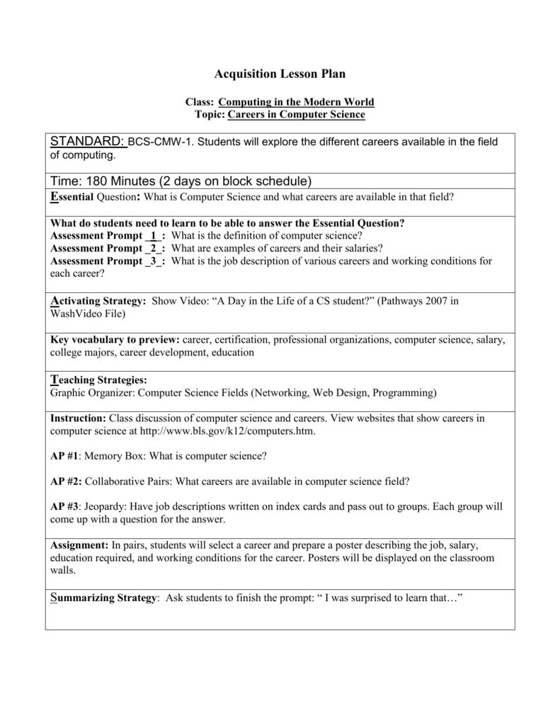 Computer Lesson Plan For Grade 1