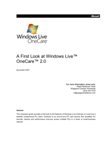 Windows Live OneCare 2.0 First Look