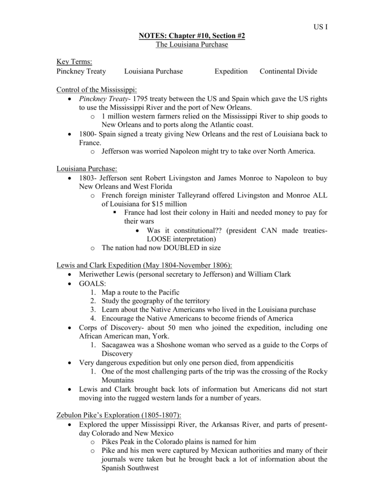 Worksheets Louisiana Purchase Worksheet notes ch 10 sect 2
