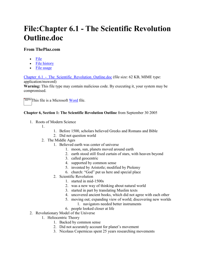 worksheet Scientific Revolution Worksheet filechapter 6 1 the scientific revolution outline