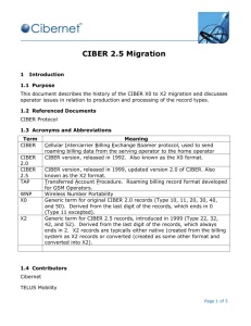 CIBER X2 Migration - CDMA Development Group