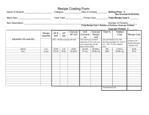 Recipe Costing Form