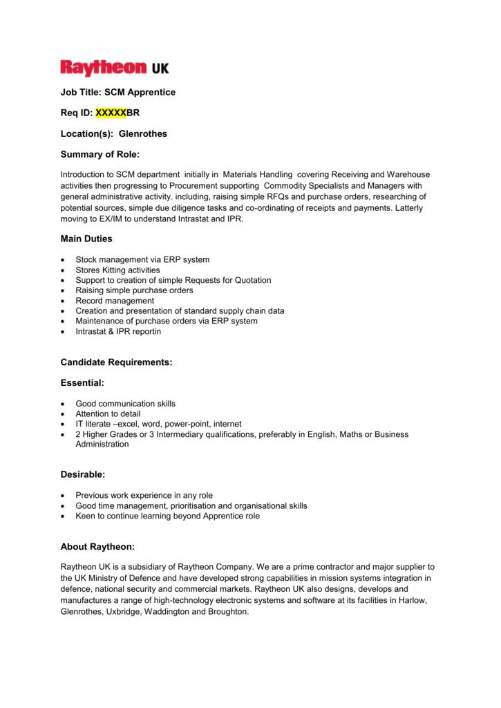 Job Title: SCM Apprentice Req ID: XXXXXBR Location(s