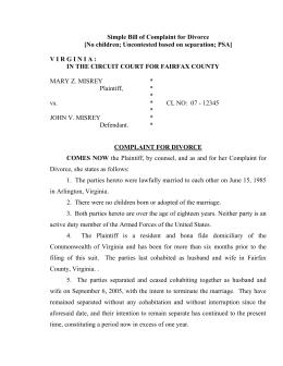 Bill Of Complaint For Divorce Virginia Beach