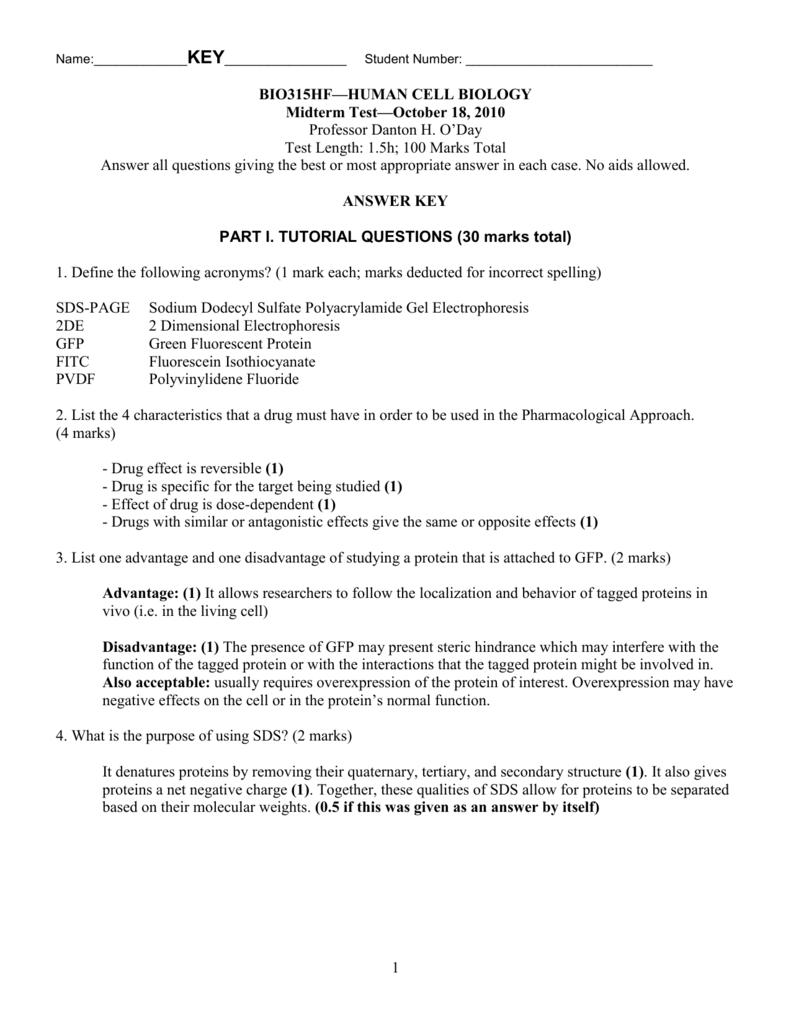 536708d302ecf BIO315HF—HUMAN CELL BIOLOGY Midterm Test—October 18