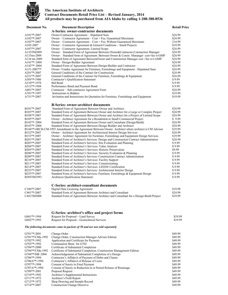 AIA Document Price List