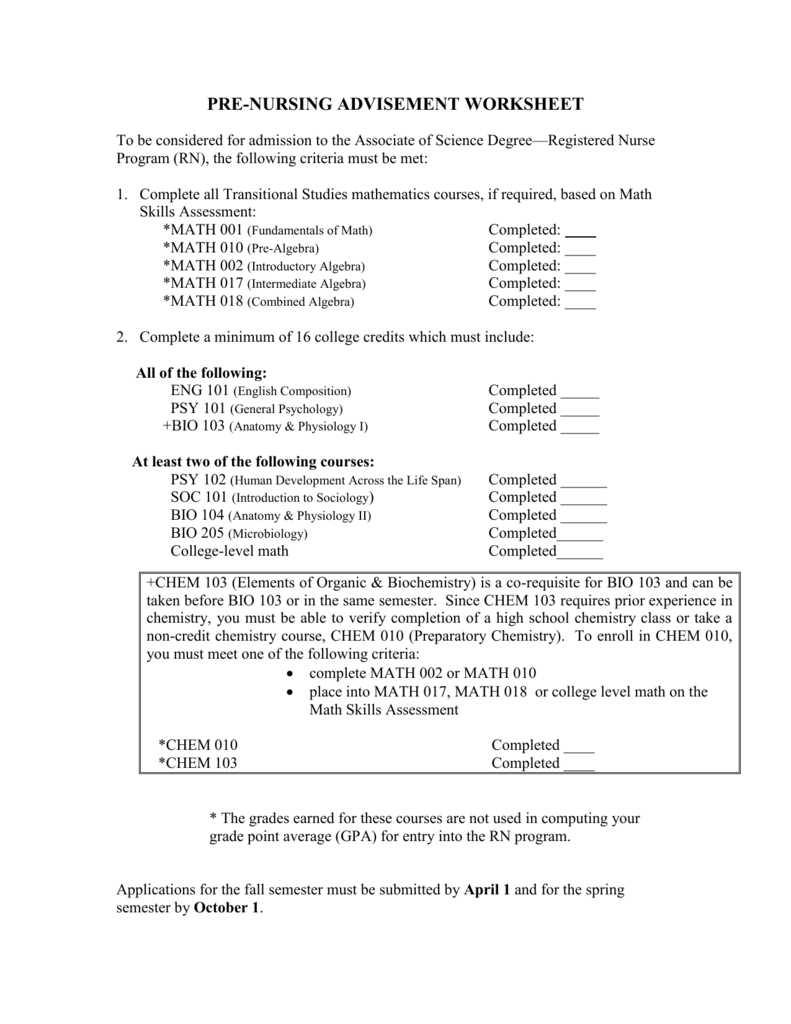 pre-nursing advisement worksheet