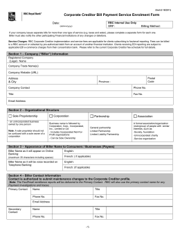 Corporate Creditor Bill Payment Service Enrolment Form