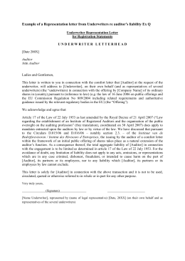 Example of a Representation letter from Underwriters re auditor's