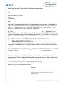 Sample letter to dentist, dental hygienist: Join school wellness council