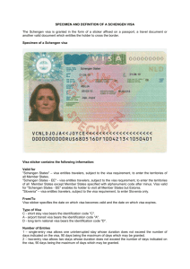 SPECIMEN AND DEFINITION OF A SCHENGEN VISA