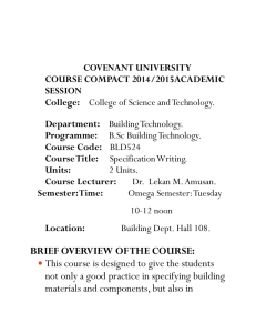 COVENANT UNIVERSITY COURSE COMPACT 2014/2015