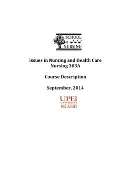 1 Issues in Nursing and Health Care Nursing 303A Course
