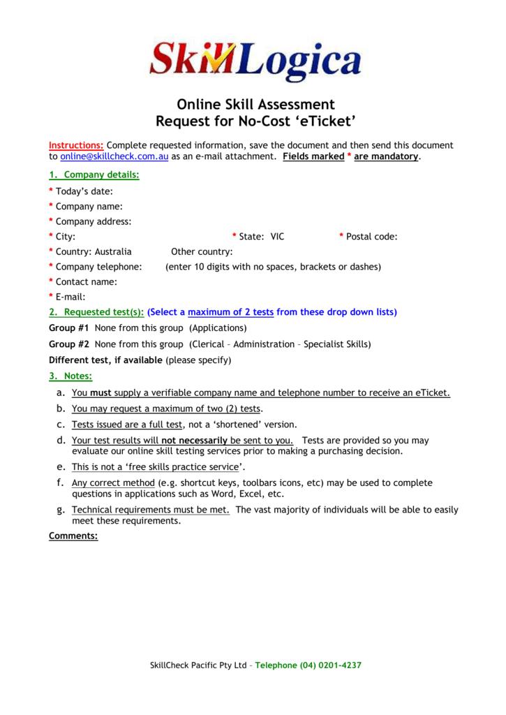 Demo eTicket Request - SkillCheck Pacific Pty Ltd