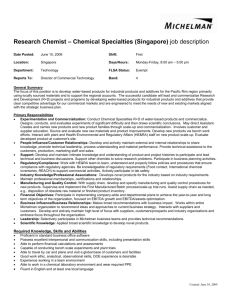 Research Chemist – Chemical Specialties (Singapore) job