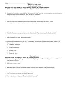 Chapter 14: President in Action Study Guide