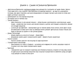 Station 1: Causes of Industrial Revolution Agricultural Revolution