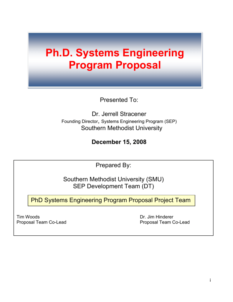 3 SMU Ph D  in Systems Engineering Program Proposal