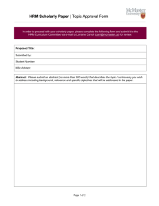 HRM Scholarly Paper Topic Approval Form