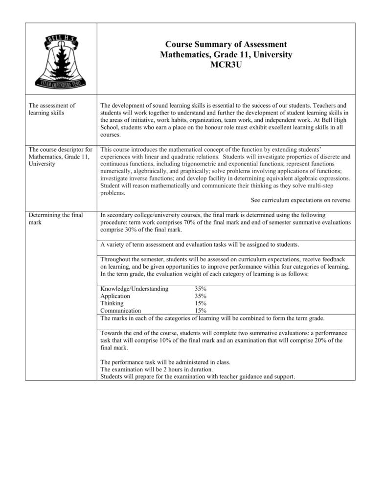MCR3U Course Outline
