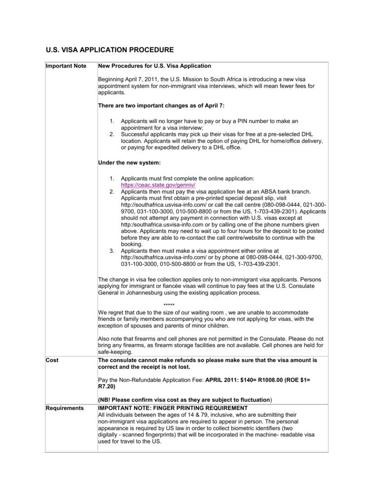 U.S. VISA APPLICATION PROCEDURE Important Note New