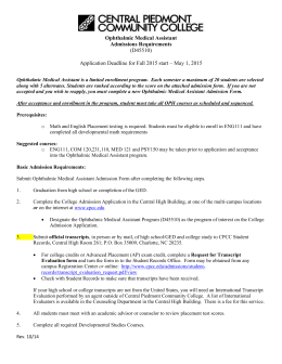 Ophthalmic Medical Assistant Admissions Requirements (D45510