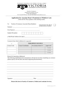 Application for Associate Dean's Permission to Withdraw Late