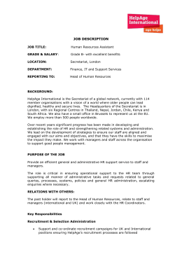 HR Assistant Job Description July 2015
