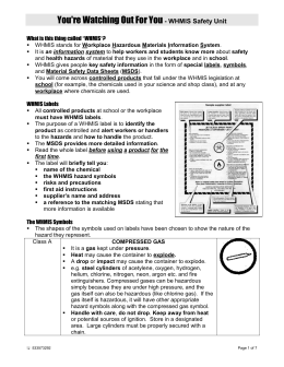 WHMIS and Safety Worksheet - Daanish Ahmad Science 10 Portfolio