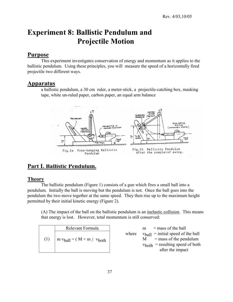 Experiment 1-F Ballistic Pendulum and Projectile Motion