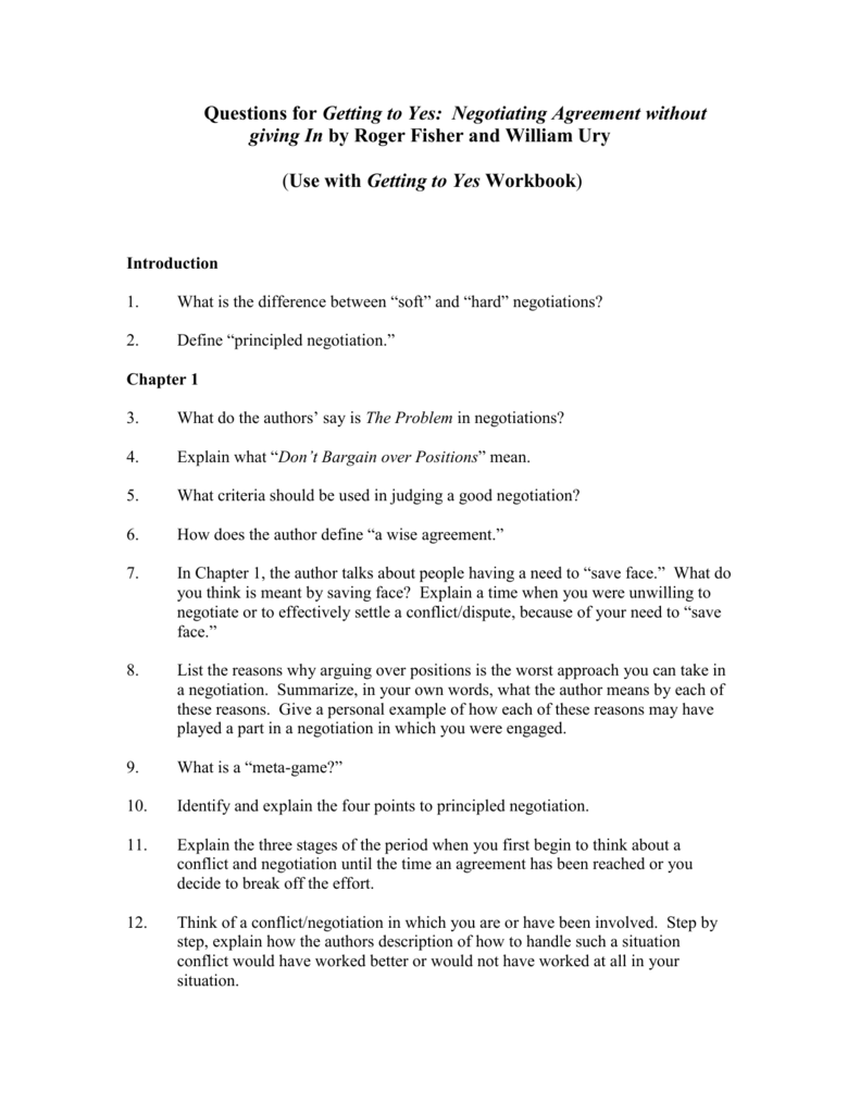 Questions For Getting To Yes Negotiating Agreement Without Giving